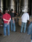 Tasting by the tanks at Alpha Omega
