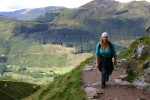 Britta trudging up the mountain