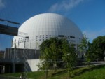 Weird golfball building in Stockholm