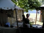 Fresh authentic flatbr�d at the medieval festival in Old Town Visby Gotland Sweden