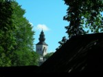 One of the many church spires in Old Town Visby Gotland Sweden