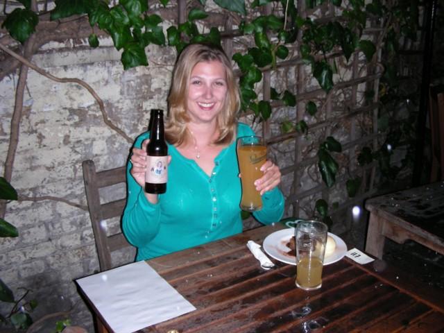 Happy cider Britta at the Windsor Castle Pub :)