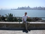 Andy on Alcatraz with the San Francisco skyline behind