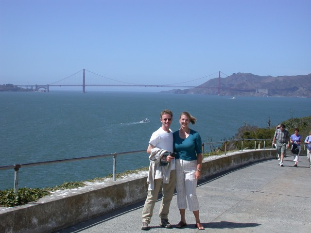 Andy & Britta on Alcatraz with the Golden Gate bridge