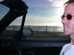 Andy as a passenger driving along the beach (19th Street)