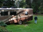 The RV stuck in the mud in Grandma's backyard