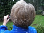 Snow in Mom's hair on Christmas Day! This never happens in Woodway since it's too close to Puget Sound!