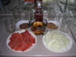 Setup for making pickled salmon - yum!