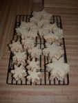 Snowflake sugar cookies baked & ready for decorating